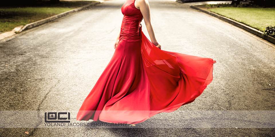 Header Image of red dress for matric dance photography done on the East Rand by Loci Photography Yolandi Jacobsz Professional Photographer