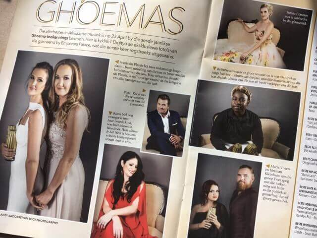 Image of Kyknet Digityd magazine in the Rapport Newspaper, with Exclusive images of the Ghoema Awards 2017, taken by Loci Photography