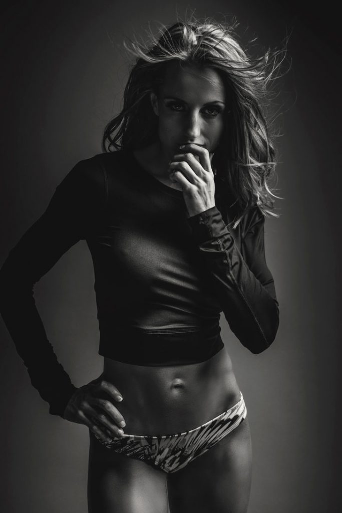 An example of gorgeous black and white photography, of professional fitness shoots done in studio, by Loci Photography