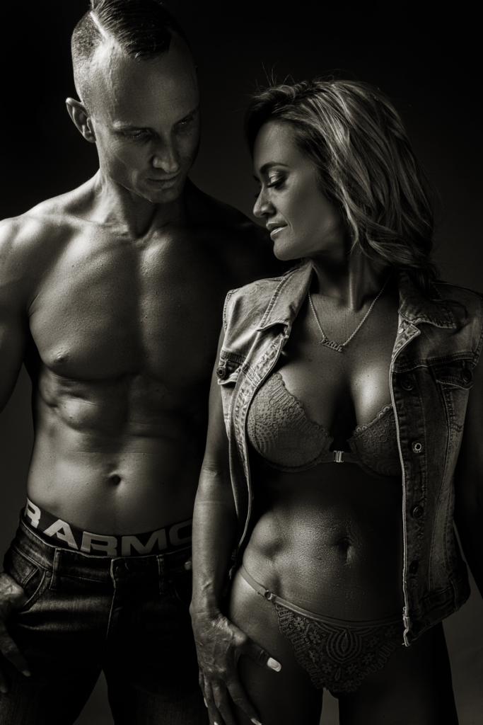Couple fitness photography taken at the Loci Photography studio.
