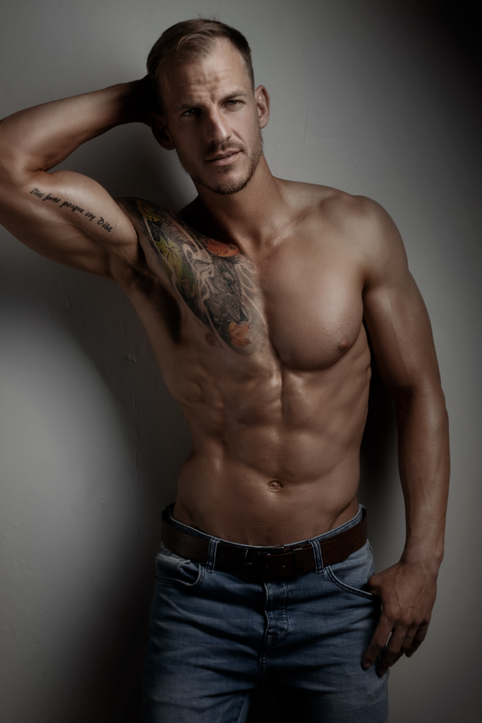 Images of man in jeans professional fitness photography by Loci Photography