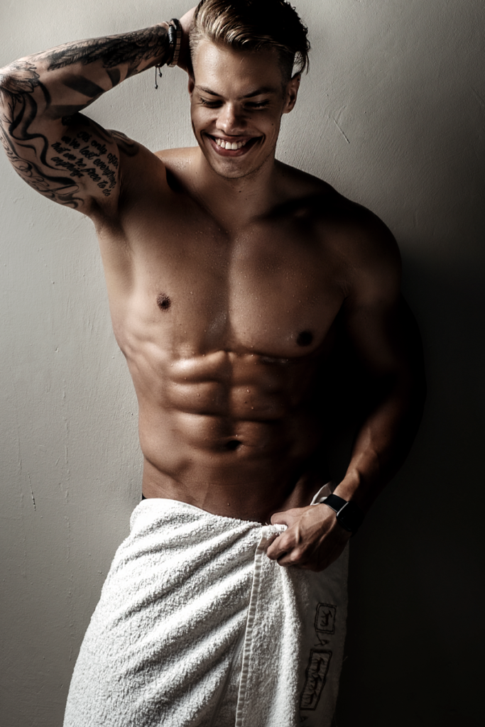 Towel photo taken during fitness shoot in studio by Loci Photography.