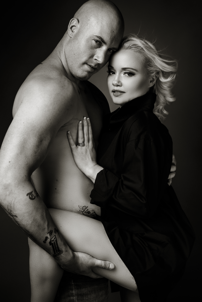 Couple boudoir image done in studio by Loci Photography in Pretoria.