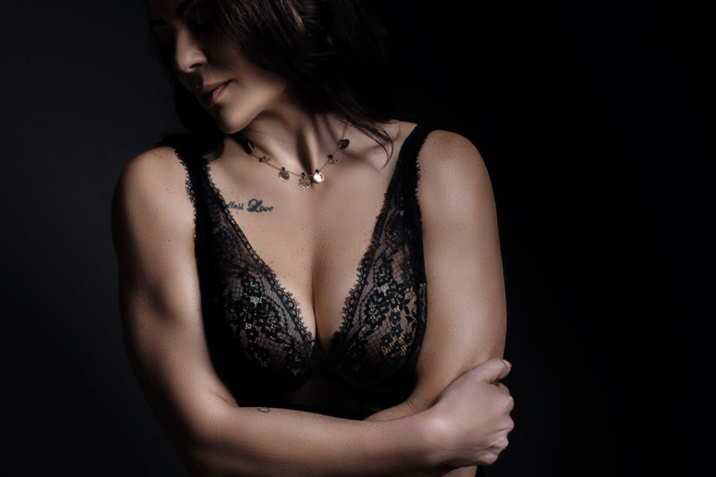 Stunning lace underwear beautifully captured during a boudoir shoot in studio by Loci Photography.