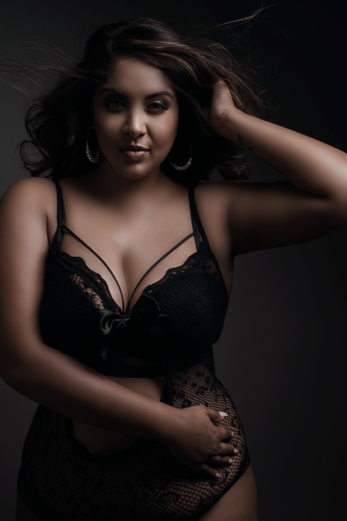 Example of empowering boudoir photography done with Loci Photography