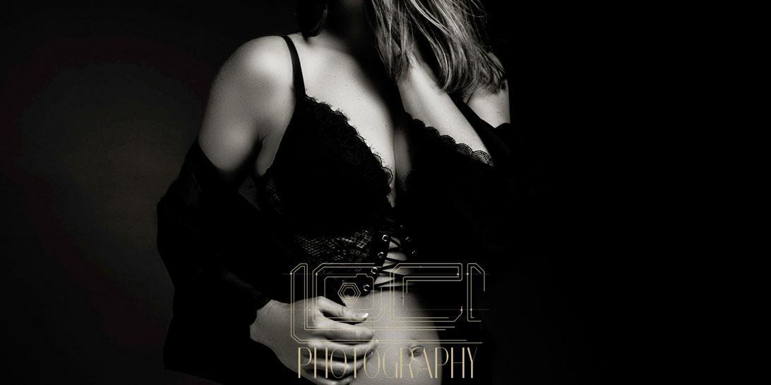 Black and white stunning boudoir photography image shot in studio