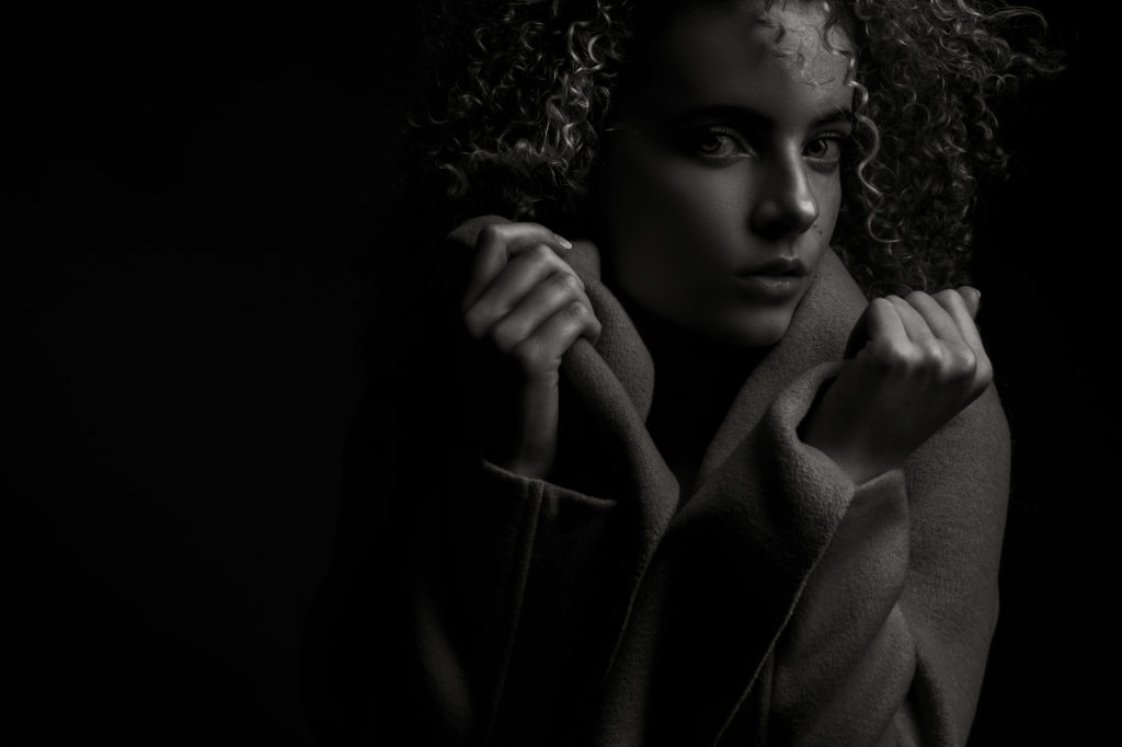 Black and white image of professional portfolio shoots done in studio by Yolandi Jacobsz of Loci Photography