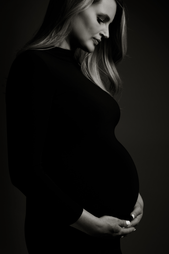 Classic maternity images taken in studio by Loci Photography.